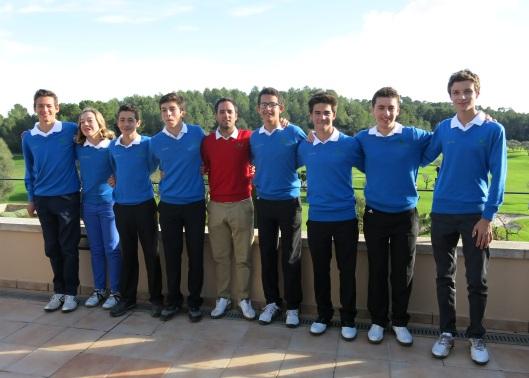 El equipo de Arabella Golf Junior Academy, capitaneados por Víctor Mirón, y entrenados por Nico Loprete