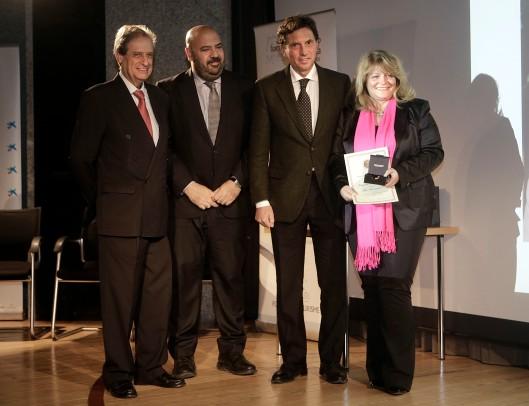 Eduardo Gamero, Presidente de Foment, Jaime Martínez, Conseller de Turisme i Esports, y Mateo Isern, Alcalde de Palma, con Alexandra Schörghuber